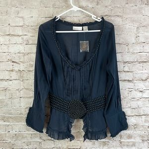 Soft Surroundings Navy Ruffle Bead L/S Blouse M